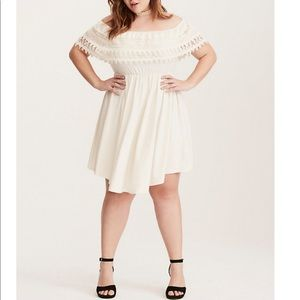 Torrid Lace Trim Off-Shoulder V-hem Dress